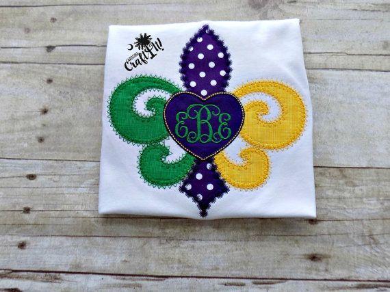 Mardi Gras, Girls Tshirt, Toddlers, Infants, Fluer De Lis, Monogrammed, Personalized, Embroidered, Appliqued