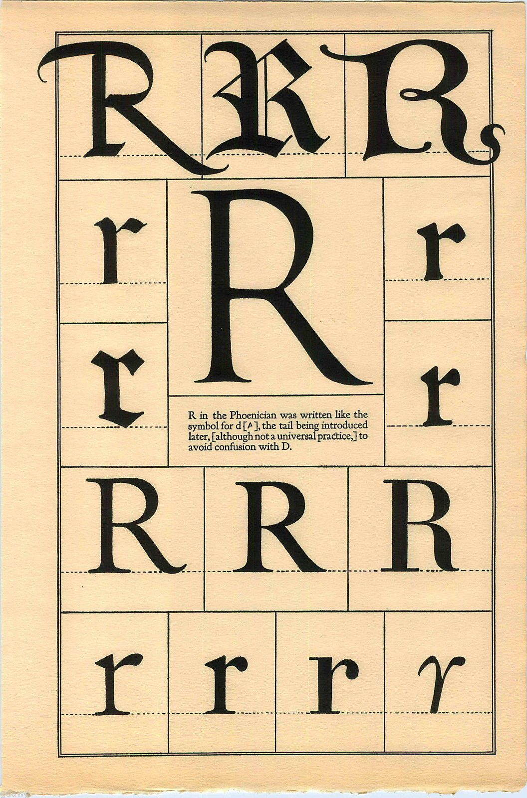 1922 Book Print Letter R Greek Roman Alphabet Design