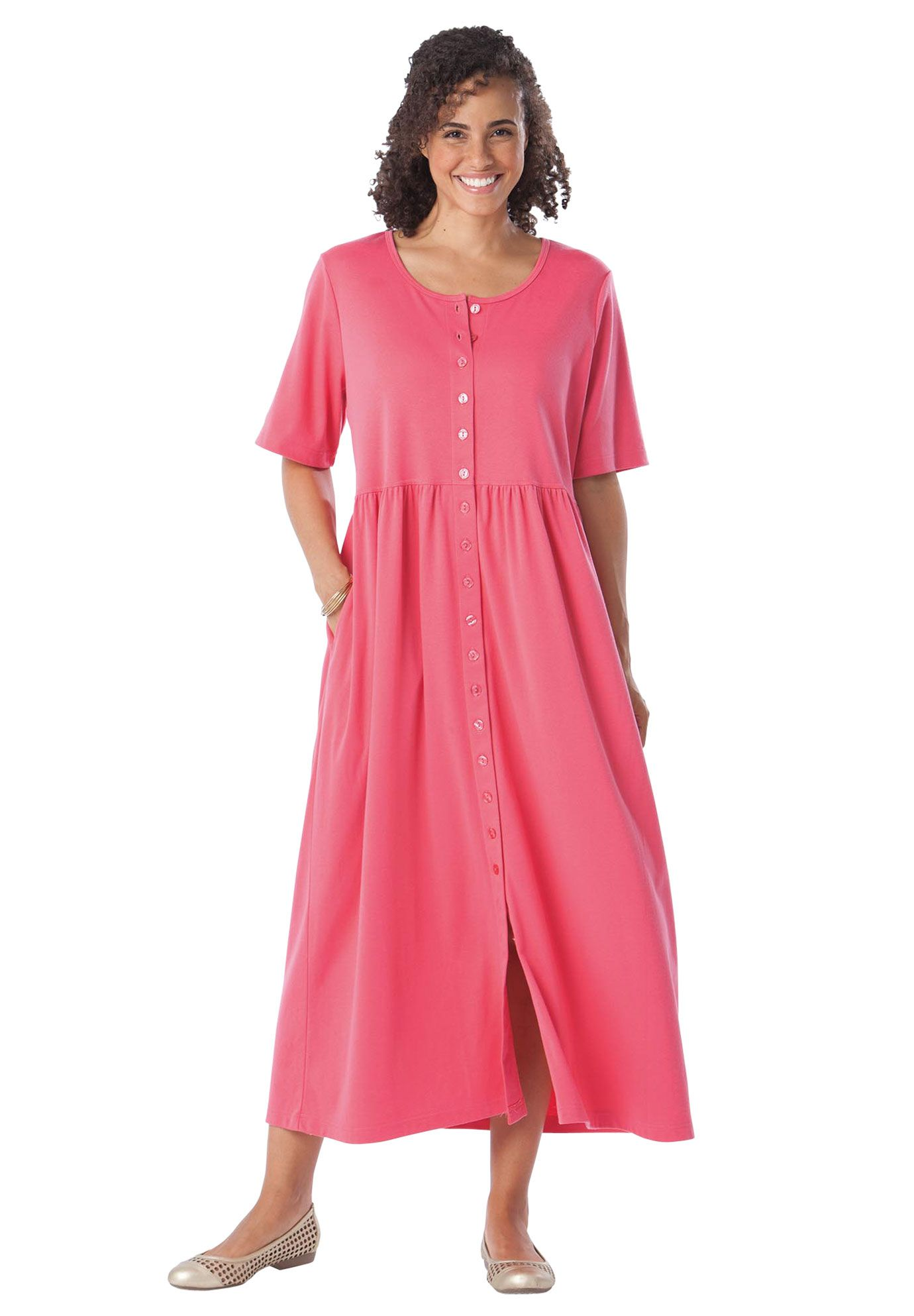 Plus Size Dress With Button Front Empire Waist By Only Necessities