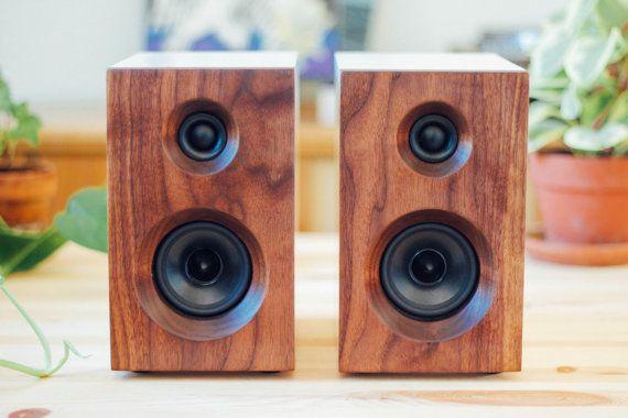 Walnut White Bookshelf Speakers Stereo Passive Speakers Wood Speakers Bookshelf Speakers Passive Speaker