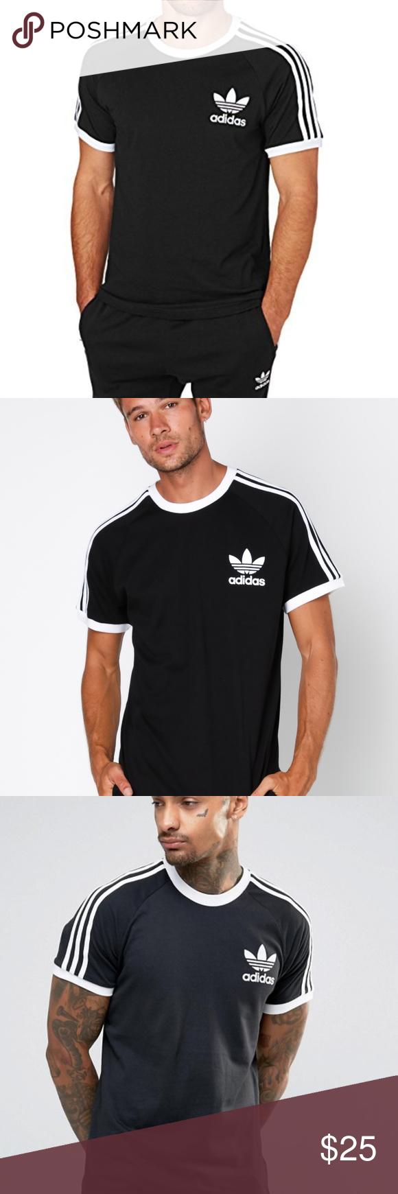 1baea6c0 Adidas 3 Stripes Black California Tee Shirt adidas Originals 3 Stripes  Men's Black White California Tee
