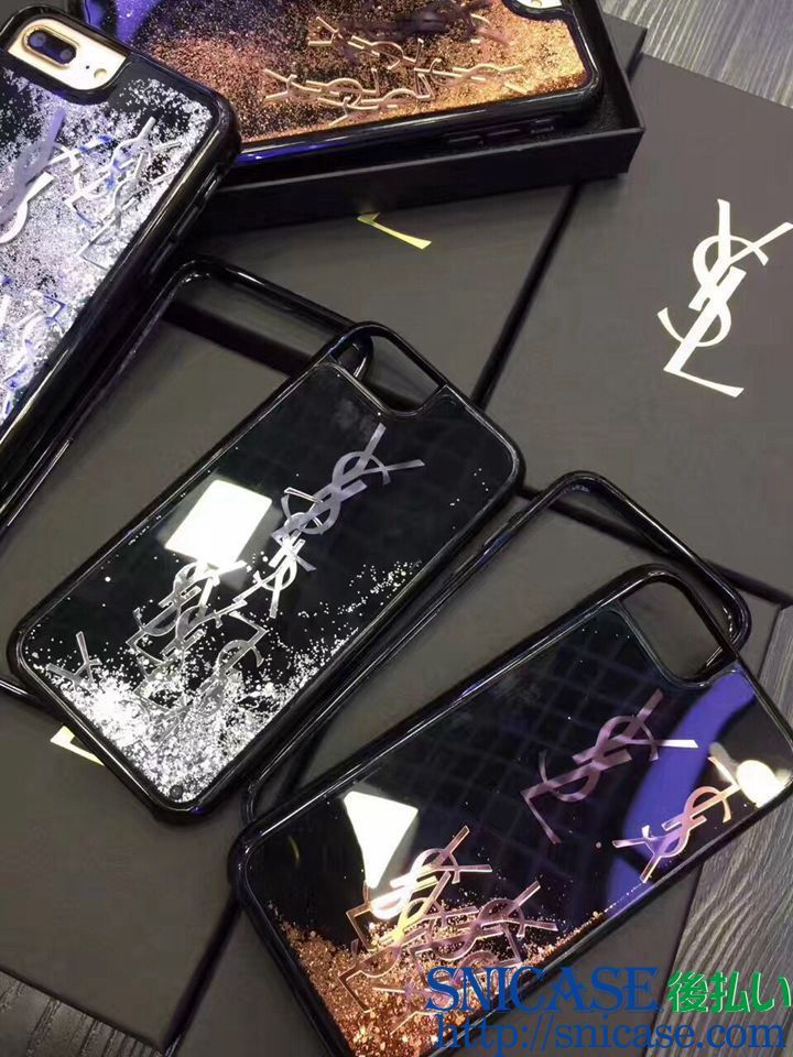 3b2c589685 キラキラで流れる iphoneケース ブランド iphone7ケース サンローラン きらきら アイフォン7プラスケース YSL 芸能人愛用  iPhone8カバー 新品