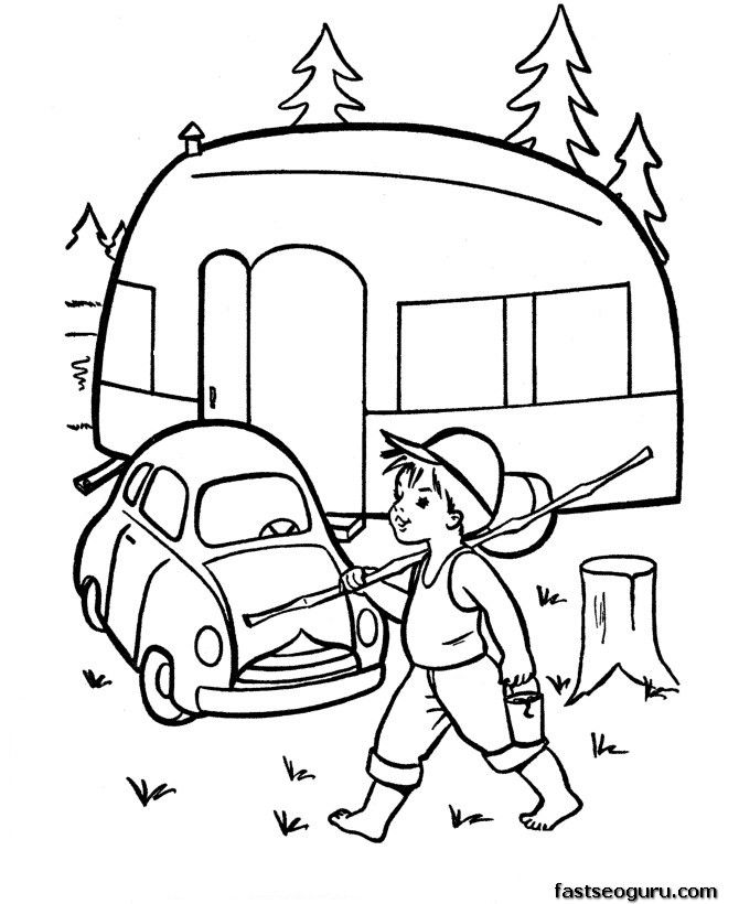Printable coloring pages caravan car thema camping for Camping coloring pages for preschoolers