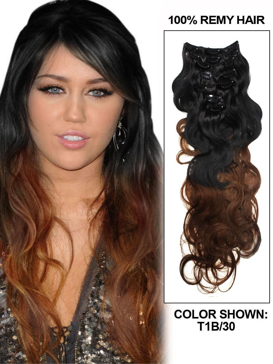 7a Best Quality Two Tones Ombre Clip In Hair Extensions 9pcsset