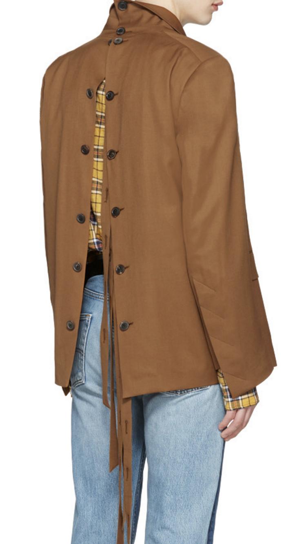 0b13254575f3 Y Project Brown Oversized Open Back Blazer from SSENSE (men