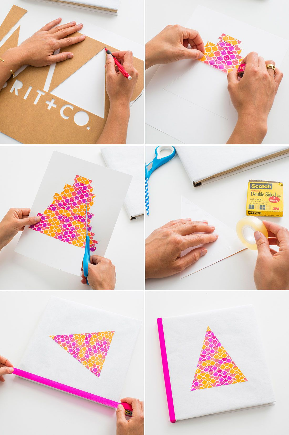 Book Cover Craft Map : Tbt make old school book covers with colorful tape via