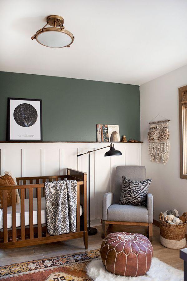Modern And Vintage Boy S Nursery Reveal With A Dark Green Accent Wall Neutralnursery Boysroom Home Walls