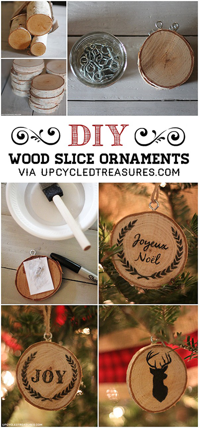 Check out these DIY Wood Slice Christmas Ornaments. These would make great gifts! UpcycledTreasures.com