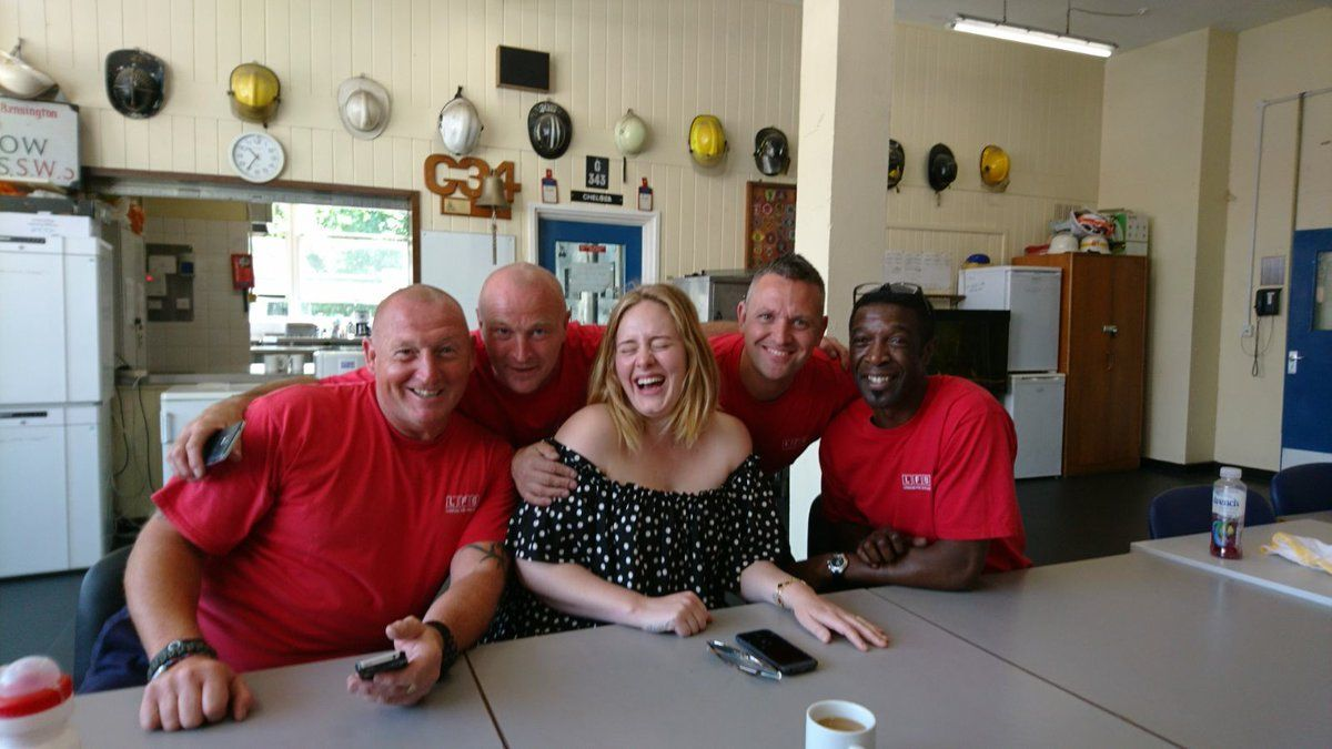 Adele visits the Grenfell Tower firefighters
