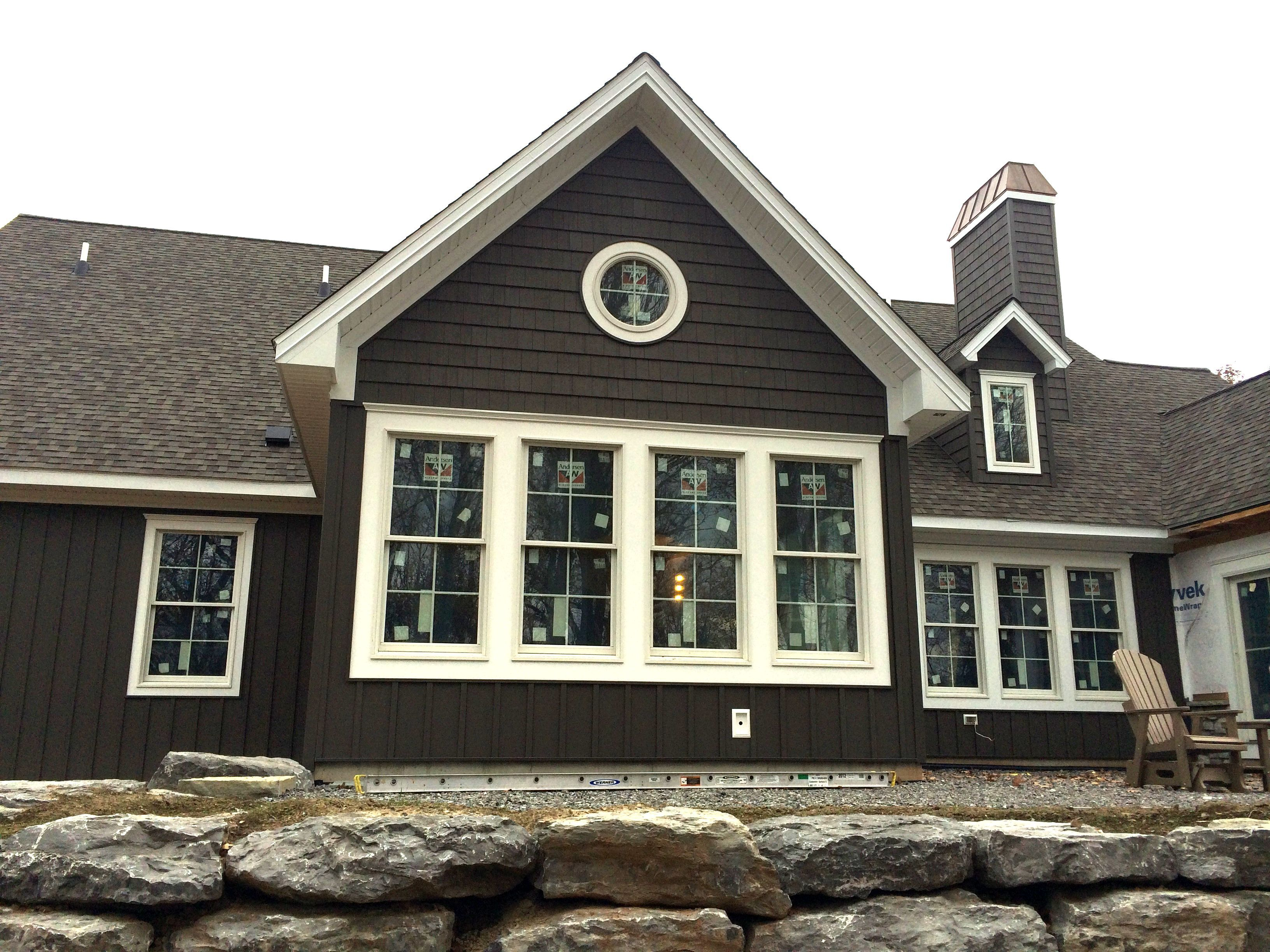 CraneBoard® 7 In Graphite With White Windows U0026 Trim | Exterior Portfolio  Siding | Pinterest | Stone Chimney, Graphite And House Projects