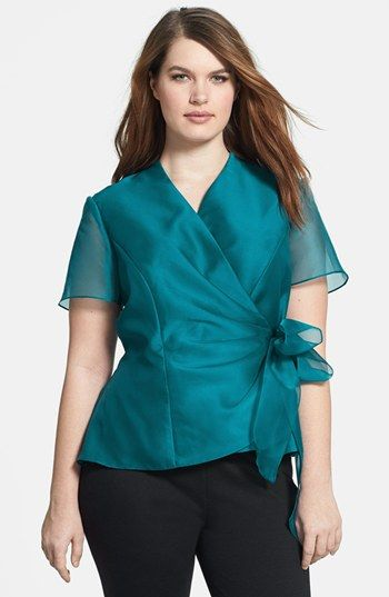 86e5afe5155 Alex Evenings Side Tie Wrap Blouse (Plus Size) available at  Nordstrom