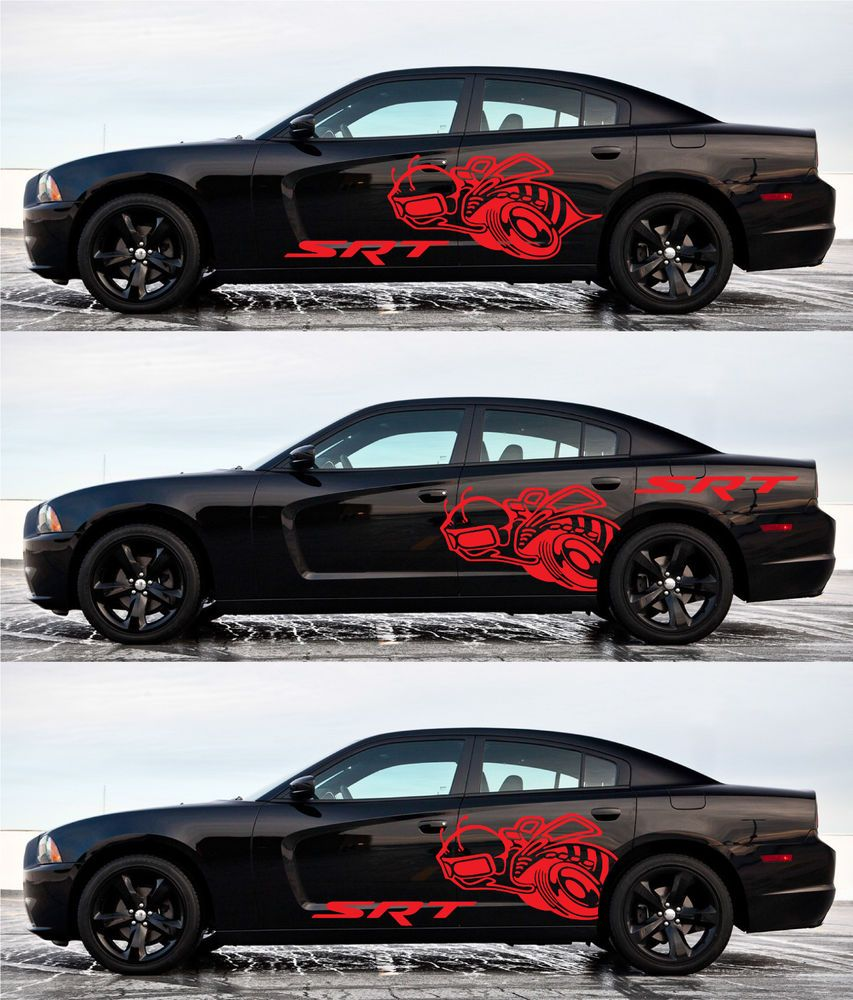 4pcs super bee srt 4free decal side vinyl fender dodge charger graphics red oracal