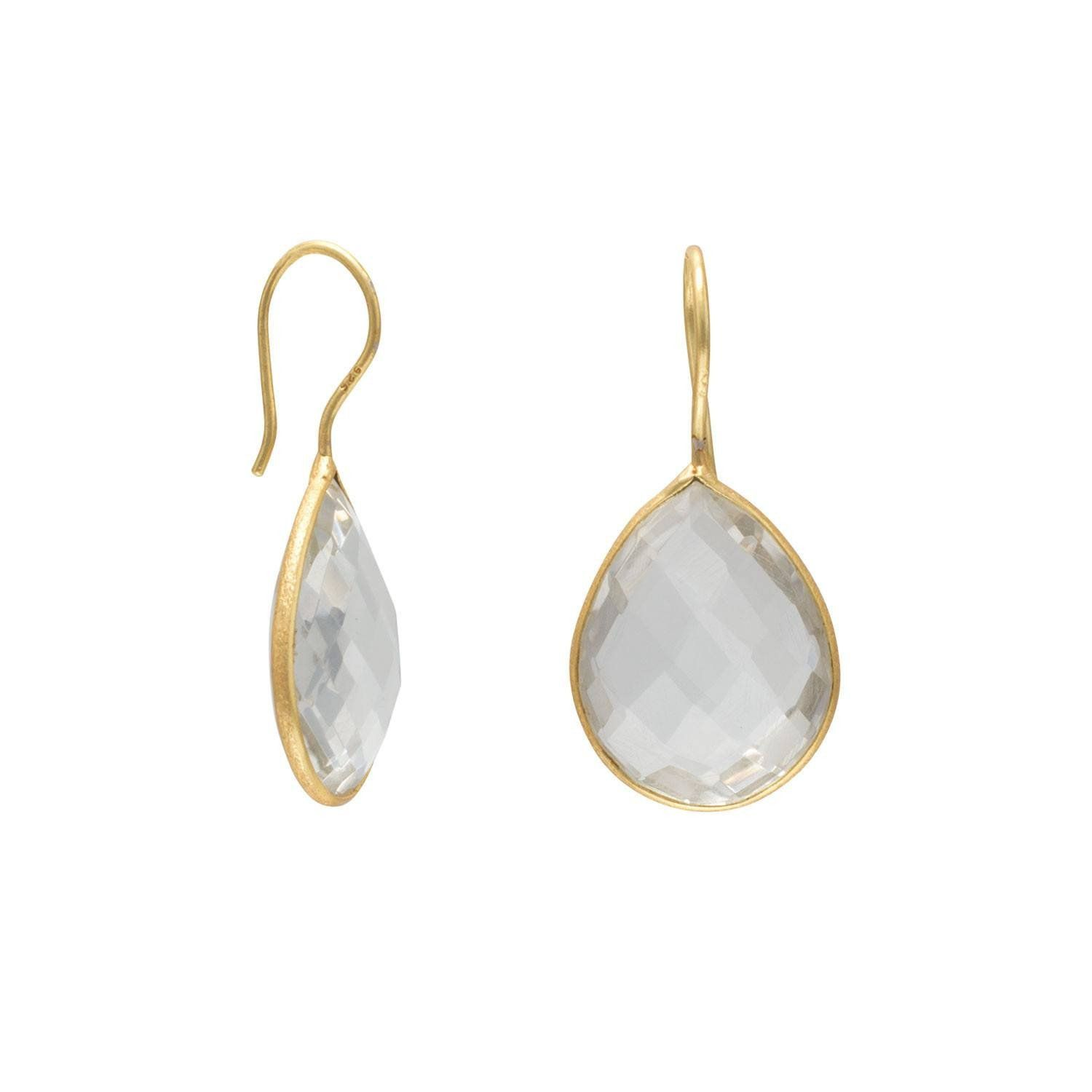 14K Gold Plated Clear Quartz Earrings