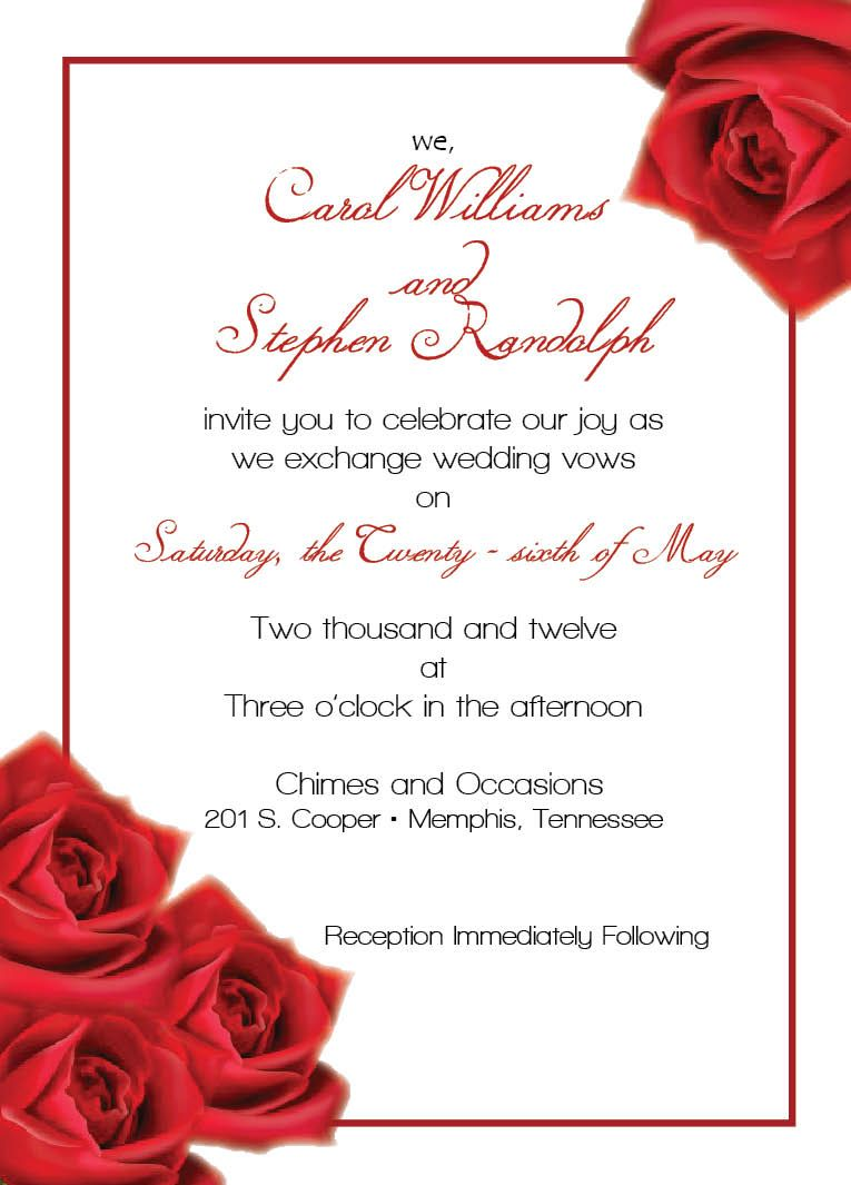 Unique Wedding Invitation Templates Red  Red rose wedding