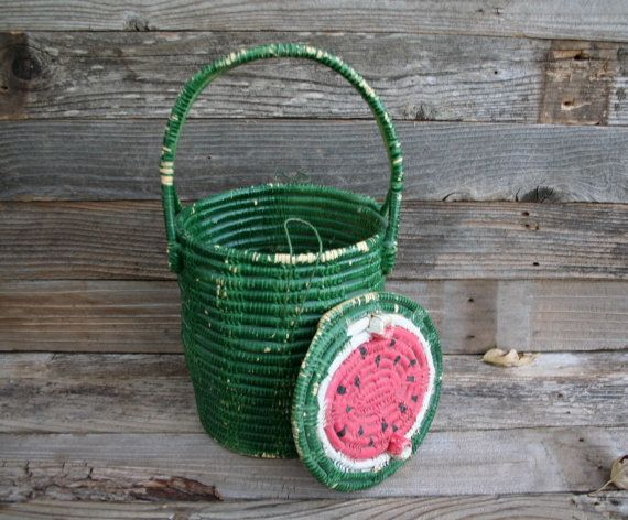 Sweet and Adorable Vintage Painted Watermelon by sixpencebluemoon