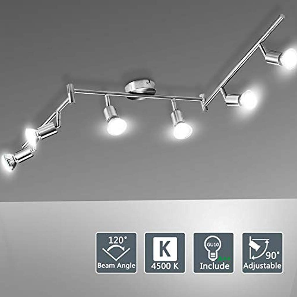Bojim Deckenstrahler 6 Flammig Neutralweiss Inkl 6x 6w Gu10 Leuchtmittel Je 600lm 4500k 82ra Ip20 Silber Deckenlamp In 2020 Led Deckenlampen Deckenstrahler Deckenspots