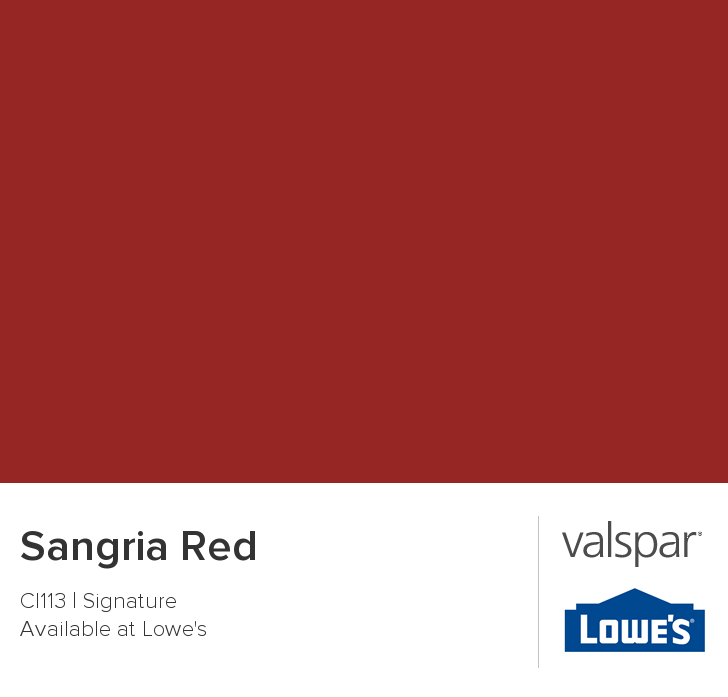 valspar paint - color chip - sangria red the color of the dining