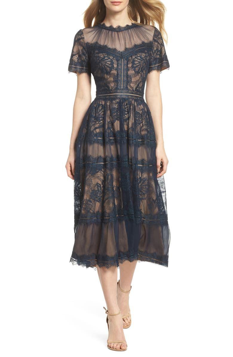 Tadashi Shoji Lace Midi Dress Nordstrom Lace Tea Length Dress Tea Length Dresses Lace Midi Dress [ 1196 x 780 Pixel ]
