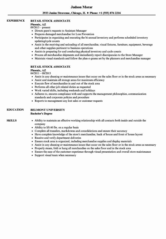 Stocker Job Description Resume Fresh Retail Stock Associate Resume Samples Job Description Job Description Template Resume