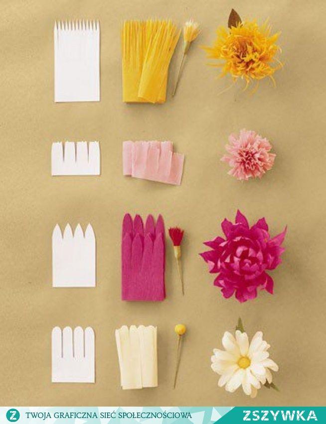 Kwiaty Z Bibuly Prasowanej Szablon I Efekt Koncowy Na Diy Inspiracje Pomysly Zszywka Pl Crepe Paper Flowers Diy Paper Flowers Flower Crafts
