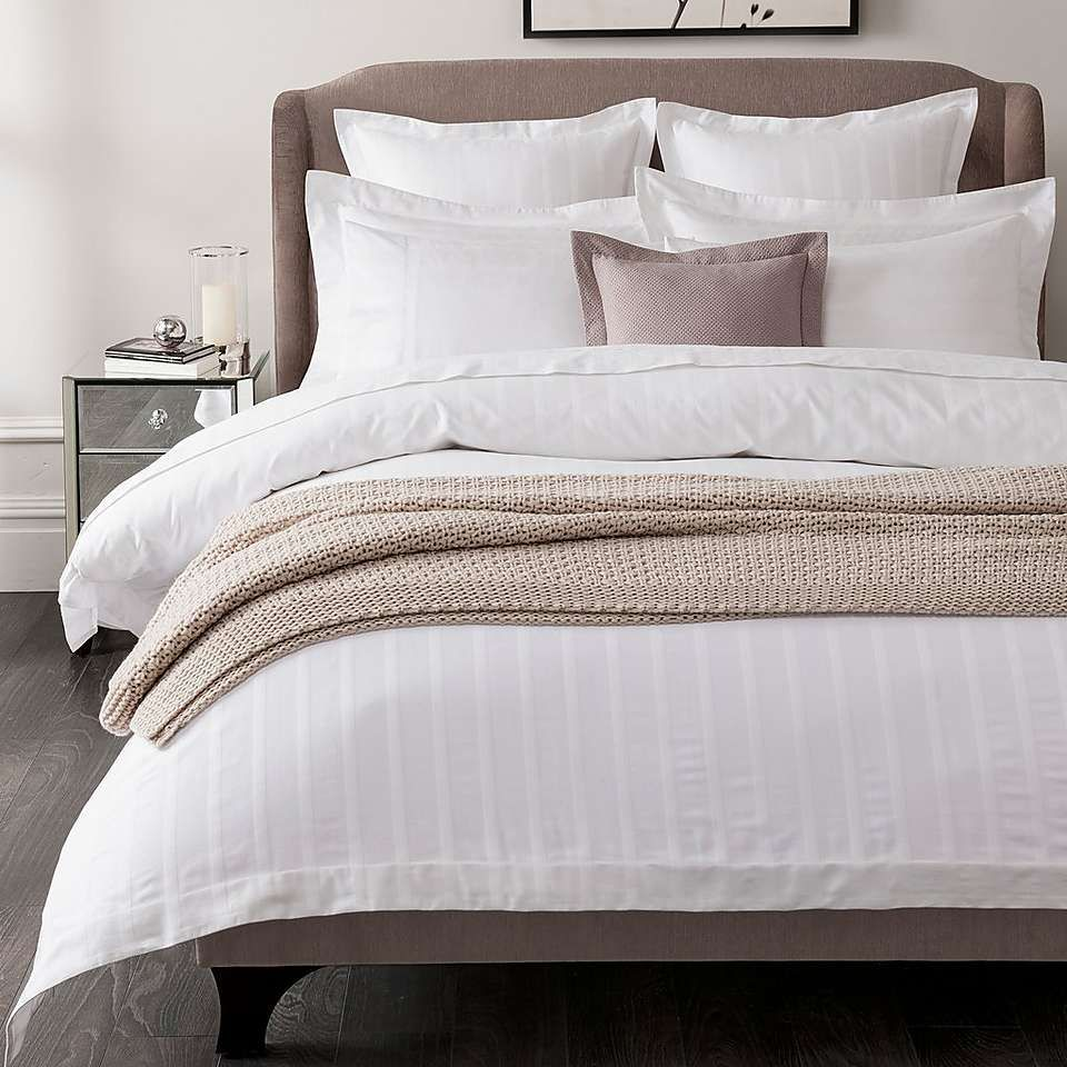 Bed Linen Hotel White Herringbone 300 Thread Count Bed Linen Collection