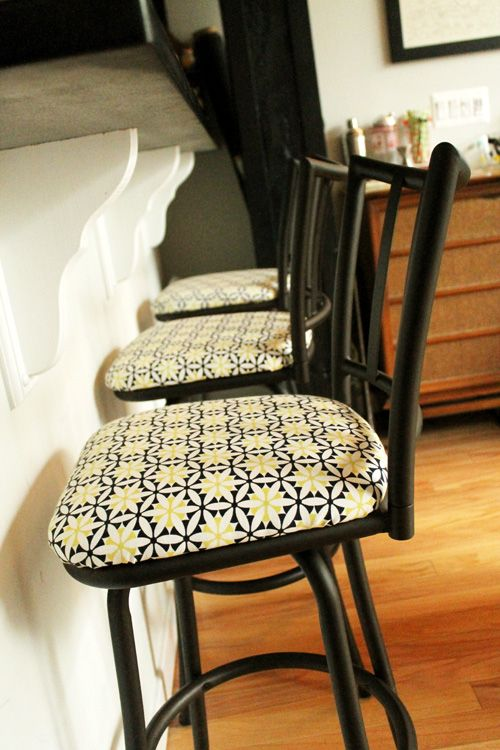 Before And After Reupholstering Bar Stools Bar Stool Makeover