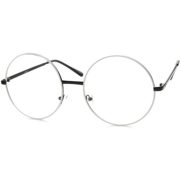 1920's Vintage Era Large Round Metal Clear Lens Glasses 8714 (43 MYR) ❤ liked on Polyvore featuring accessories, eyewear, clear lens glasses, round glasses, vintage glasses, clear round glasses and vintage round glasses
