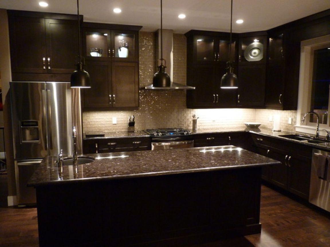 Brown Wood Kitchen Cabinet Feat Glossy Island Contemporary Kitchen Cabinets Backsplash With Dark Cabinets Dark Kitchen