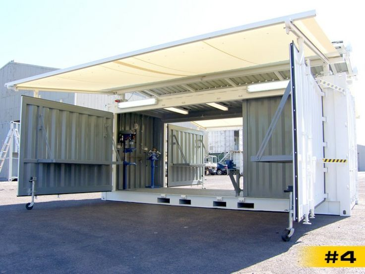 Wide Open Doors With An Awning Back Opens Too Container House Building A Container Home Shipping Container