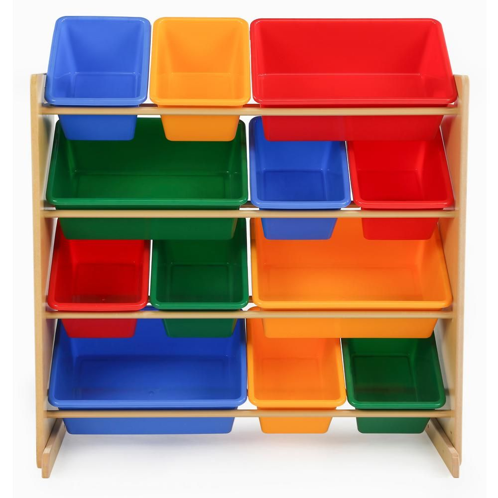 Tot Tutors Primary Natural Toy Storage Organizer With 12 Plastic Bins Natural Primary In 2020 Toy Organization Toy Storage Toy Storage Boxes