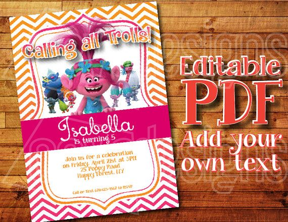 picture about Trolls Printable Invitations identify Pin upon Trolls Birthday Bash