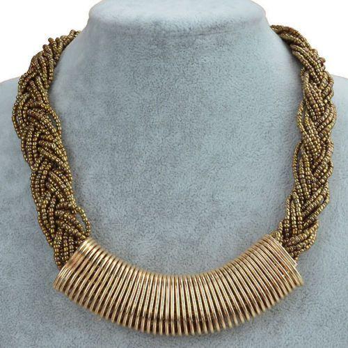 Thread Resplendent Technicolor Golden Hoop Glass Bib Statement Necklace YS211H