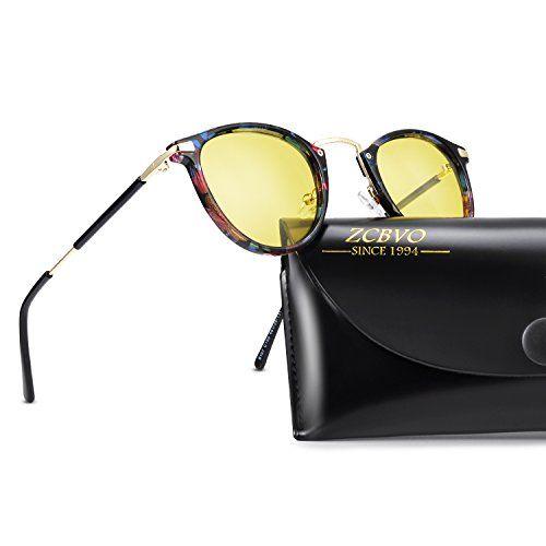 903472830fbd ZCBVO Night Vision Glasses Anti-glare Polarized Driving Sunglasses Round  Sun Glasses for women