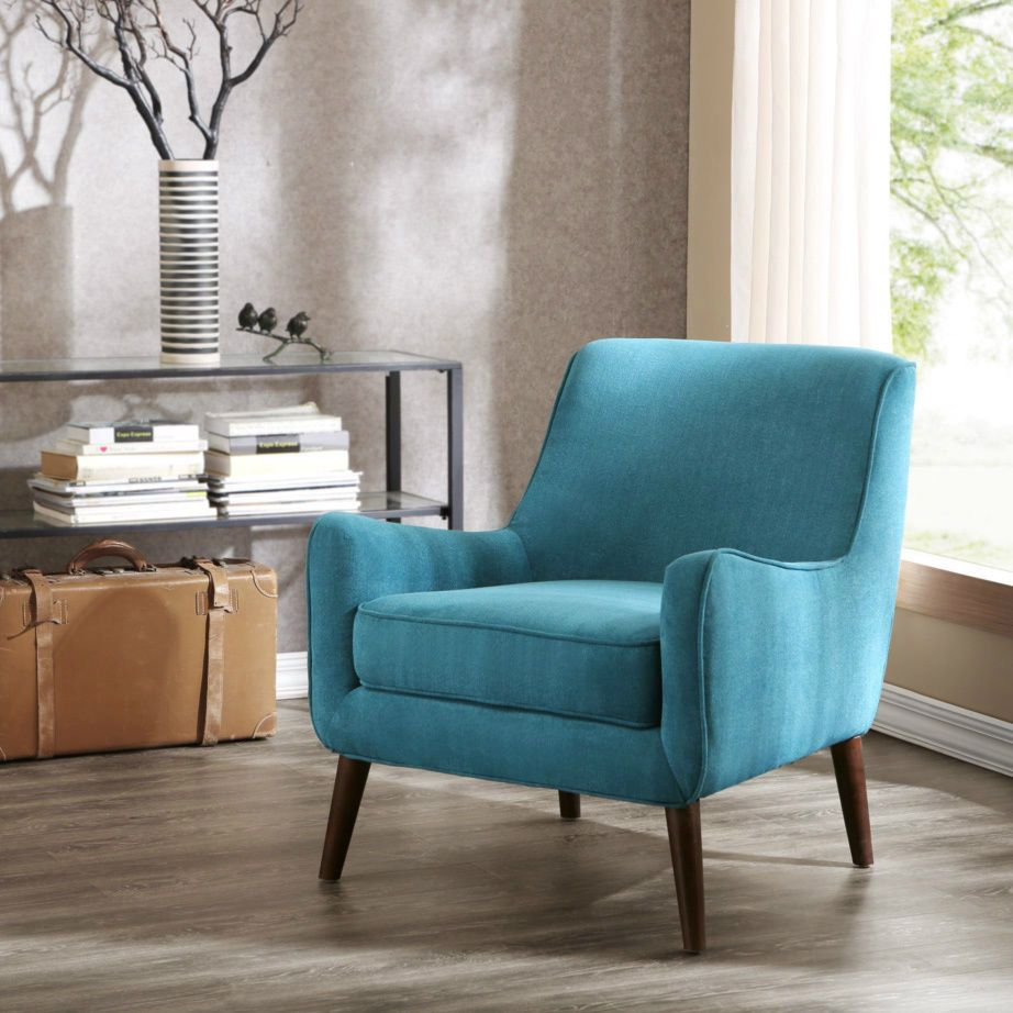 Mid Century Modern Chair Retro Furniture Teal Blue Green Arm Lounge Chair Accent Chairs For Living Room Living Room Chairs Comfortable Accent Chairs