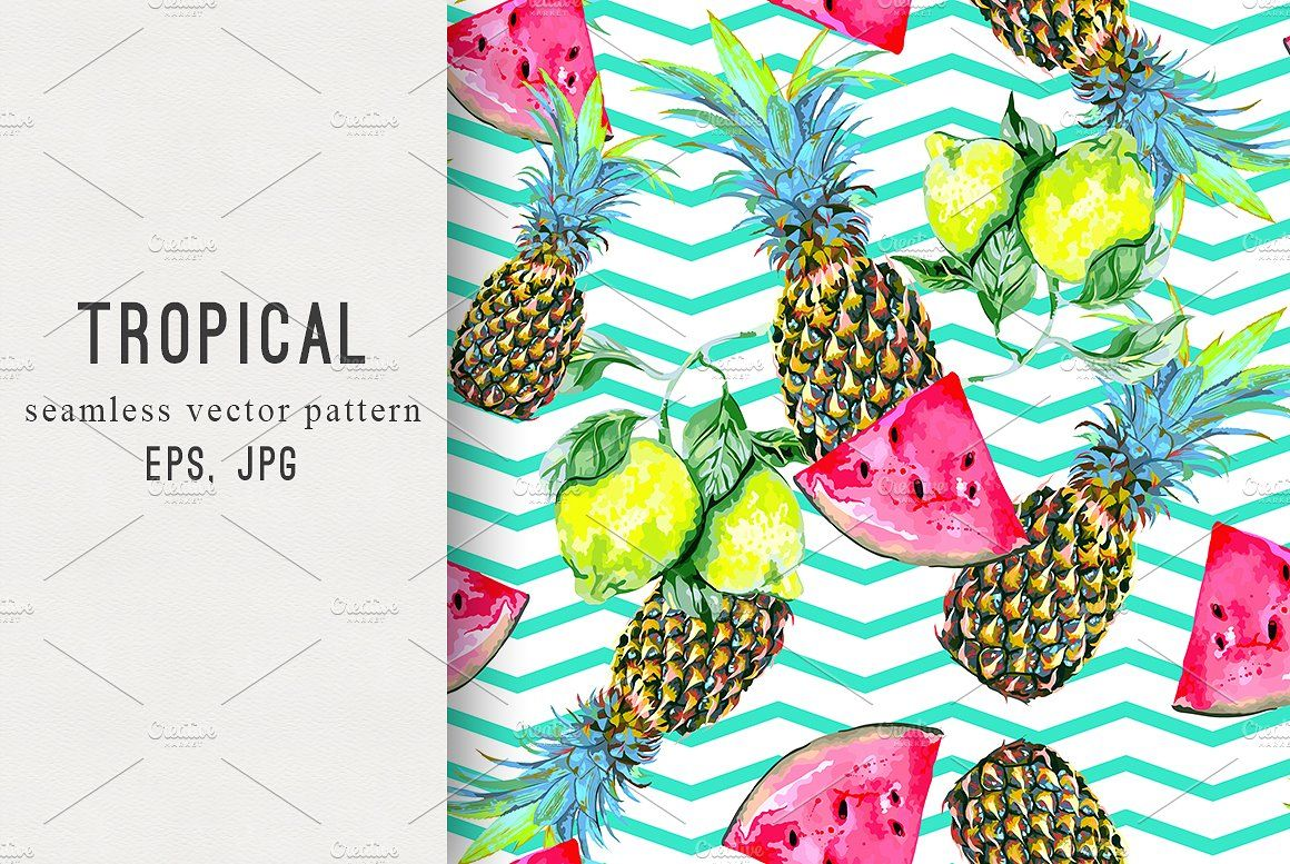 Tropical Summer Pattern INSTANT DOWNLOAD Seamless Pattern Surface Pattern Fruit Pattern Pineapple pattern Whimsical Summer Pattern