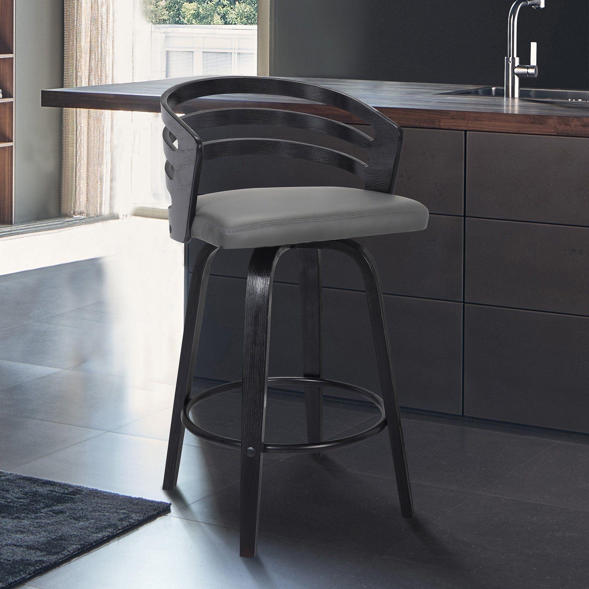 Carbon Loft Evan Swivel Bar Stool In Black Brush Wood And Grey