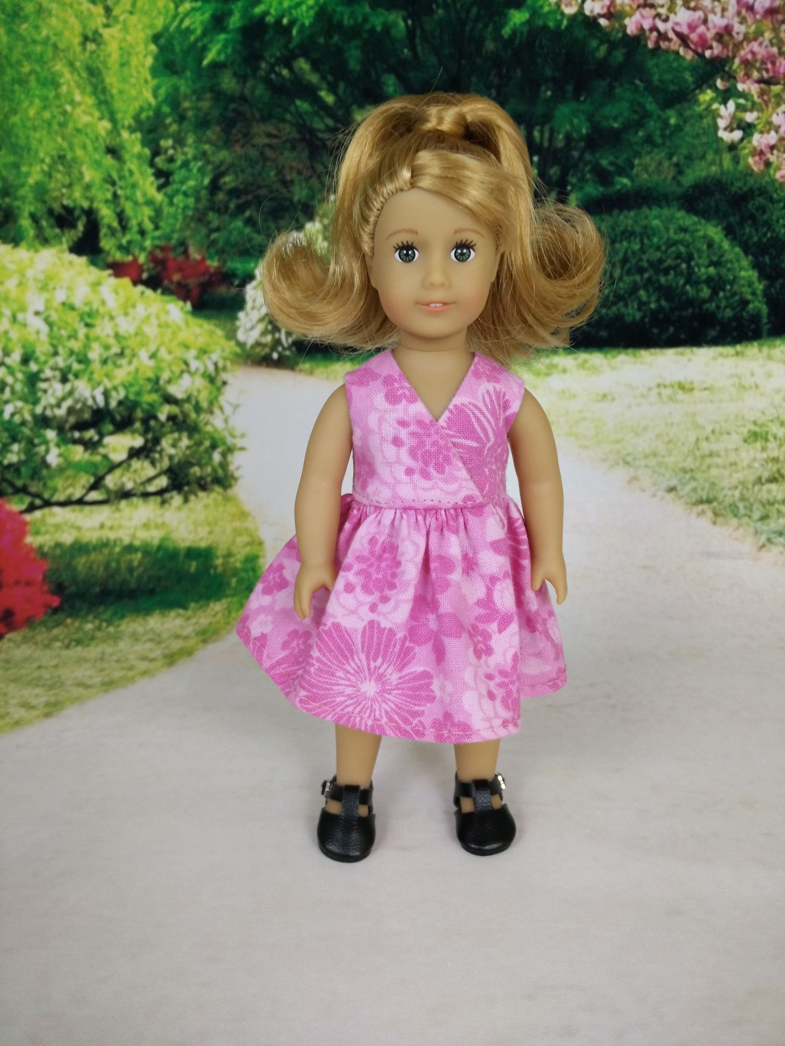 Wrap dress for American Girl mini dolls 02