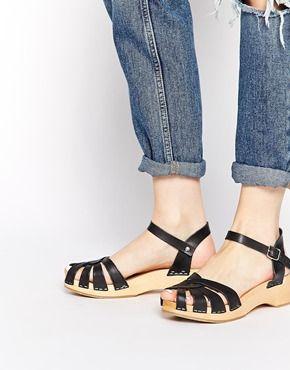 bc664943405 Swedish Hasbeens Cross Strap Debutant Black Kitten heel Sandals ...