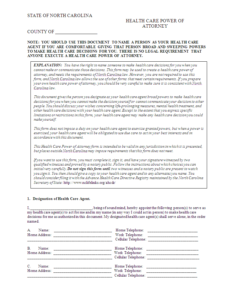 power of attorney template printable Power Of Attorney
