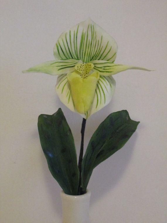 slipper orchid paephiopedalum cake topper gum by sweetpeasugarart, $25.00