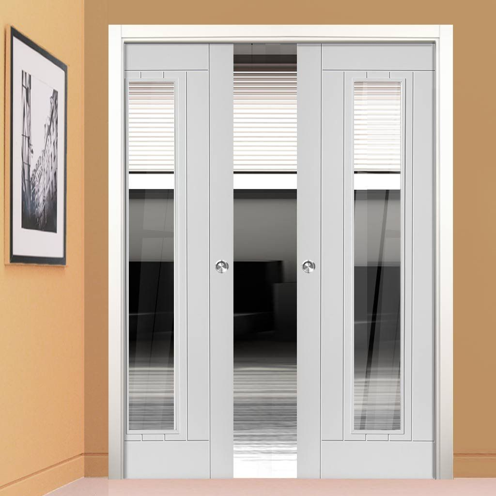 Phoenix White Double Pocket Doors   Clear Glass