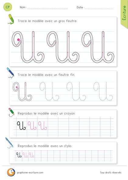 pdf exercice d 39 criture cp ce1 apprendre crire la lettre u majuscule en cursive feuille. Black Bedroom Furniture Sets. Home Design Ideas