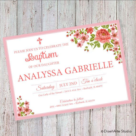 Floral Baptism Invitation Can also be worded for a wedding or - invitation letter pdf