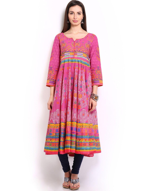 Buy BIBA OUTLET Women Pink Printed Anarkali Kurta - Kurtas for Women |  Myntra