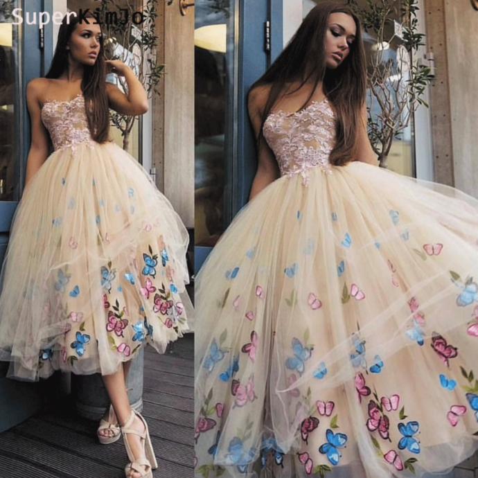 short homecoming dresses 2020 champagne cocktail party dresses lace appliqué cheap graduation dresses prom gown