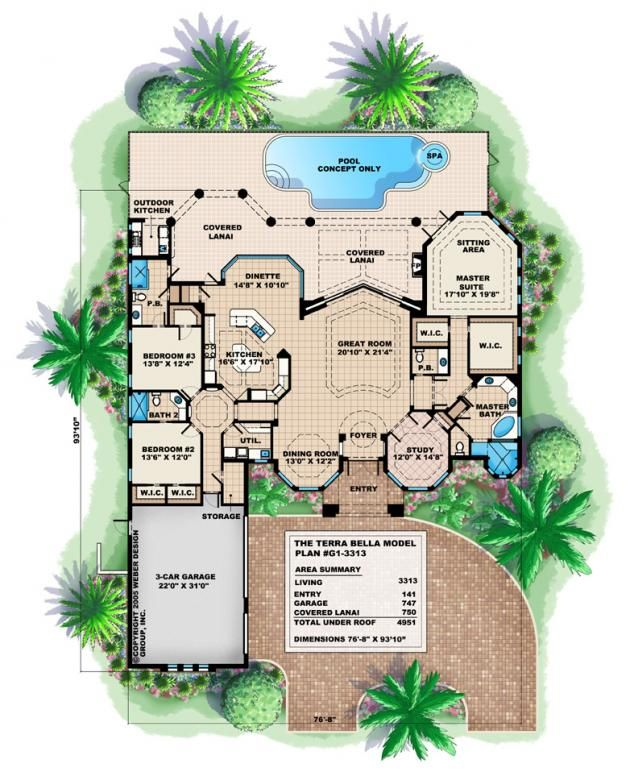 Mediterranean House Plan 1 Story Luxury Coastal Home Floor Plan Tuscan House Plans Basement House Plans How To Plan