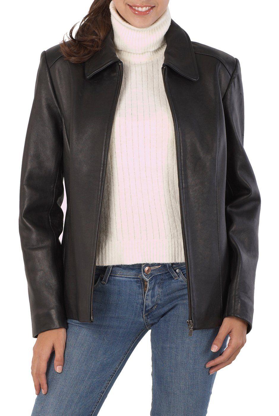 BGSD Womens Zip Front New Zealand Lambskin Leather Jacket