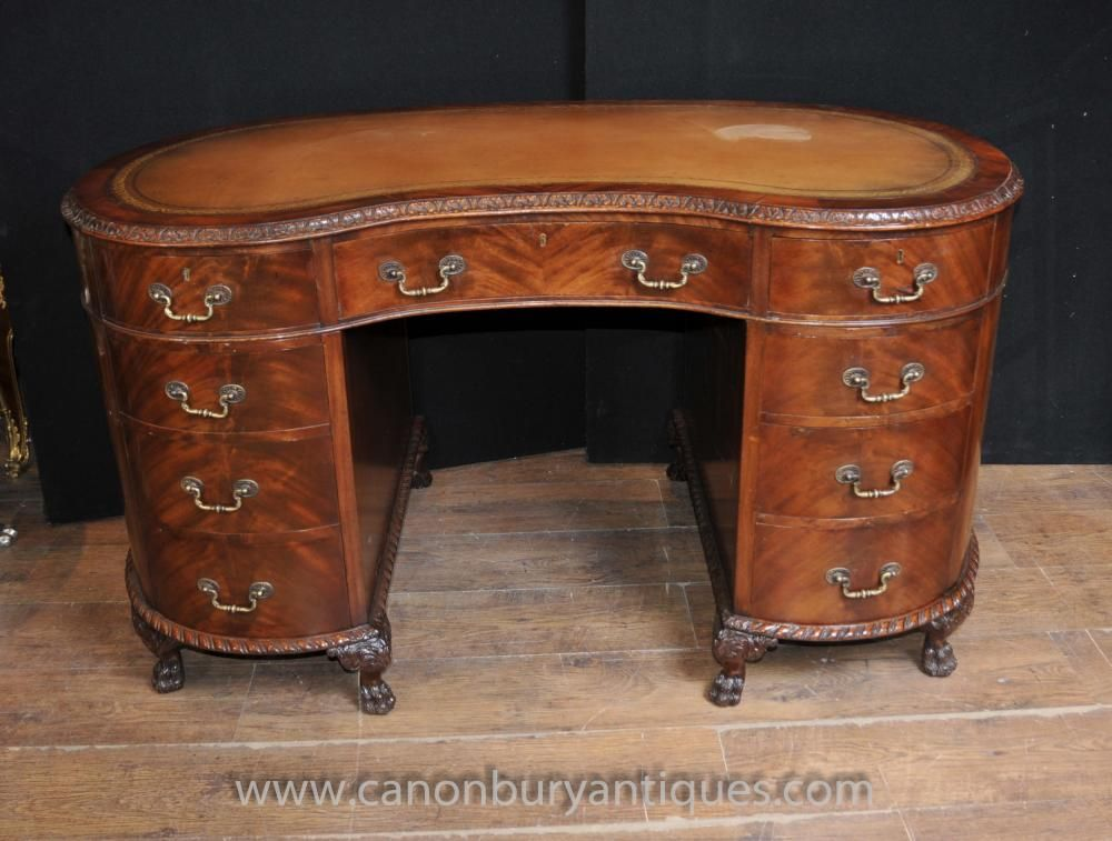 Regency Antique Kidney Desk Writing Table Mahogany Furniture - Regency Antique Kidney Desk Writing Table Mahogany Furniture