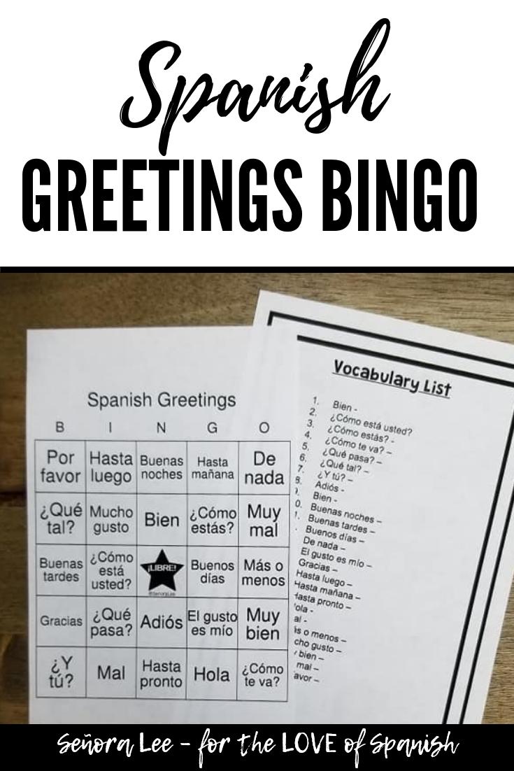 Spanish Greetings Bingo And Vocabulary Lists Spanish 1 Middle School Spanish Lessons Spanish Teacher Resources Spanish Teaching Resources [ 1102 x 735 Pixel ]