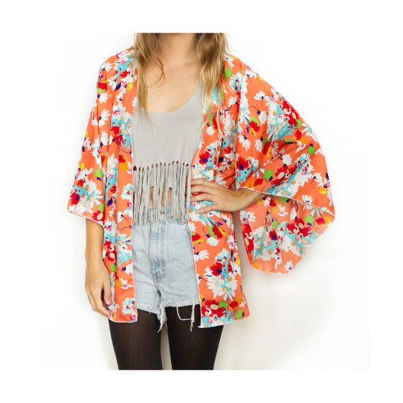 Frolic Kimono Cardigan - Coral Orange Floral | F R O L I C ...
